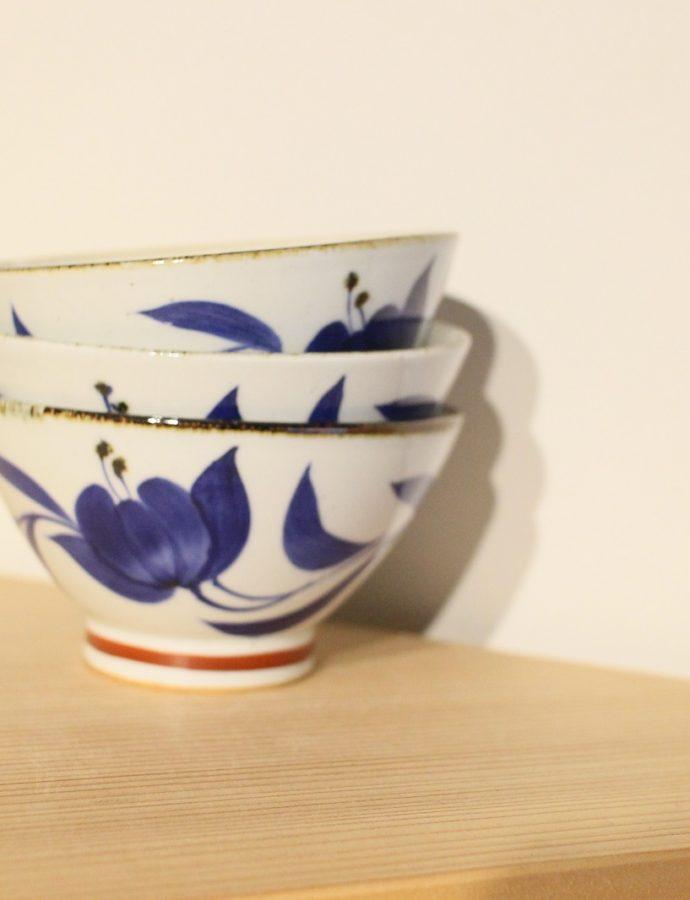 【藍の花】 ご飯茶碗